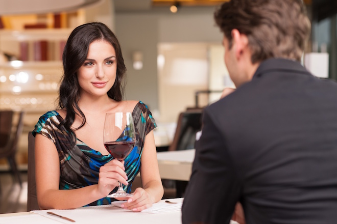 Seducing beautiful woman looking at her lover