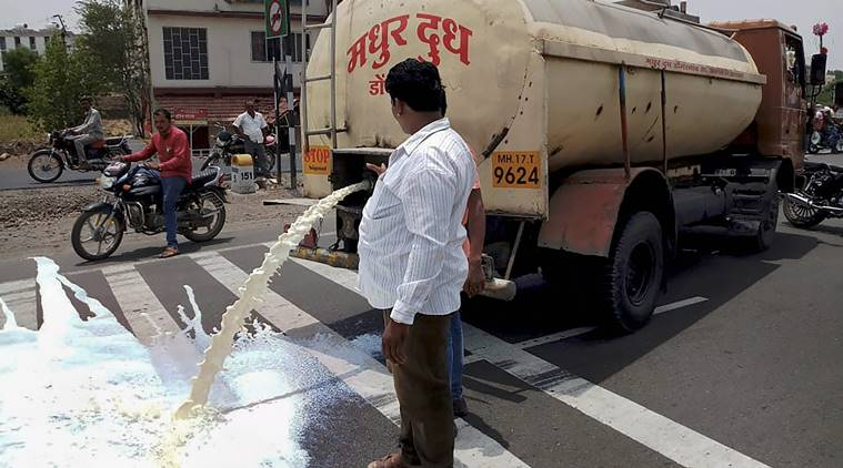 Farmers from Ahmednagar spill milk down a road during a state-wide protest, in Pune on Friday