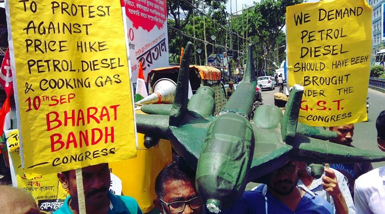 Bharat Bandh: Protests against the rising fuel prices in Kolkata on Monday