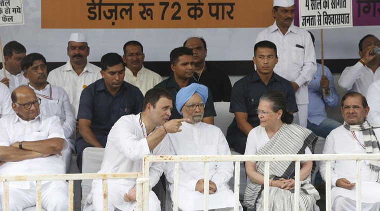 UPA chairperson Sonia Gandhi and former prime minister Manmohan Singh join Congress chief Rahul Gandhi in New Delhi for the nationwide shutdown on Monday